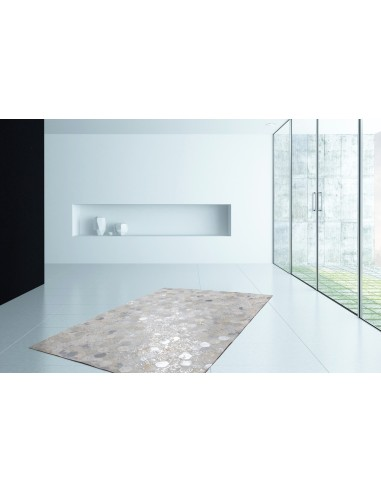 tapis 100 cuir de couleur gris argent cousu enti rement la main. Black Bedroom Furniture Sets. Home Design Ideas