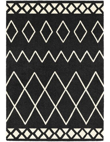 tapis motif style berb re de couleur noir taille 160 x 230 cm. Black Bedroom Furniture Sets. Home Design Ideas