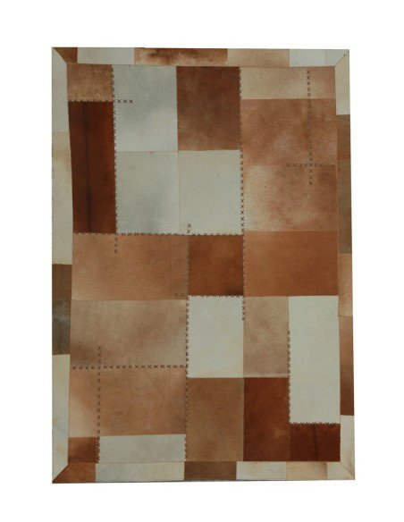 Tapis Marron 100% Cuir - Style Patchwork