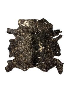 Tapis en peau de vache en Or et Noir